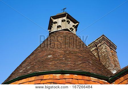 Old traditional English oast house roof background