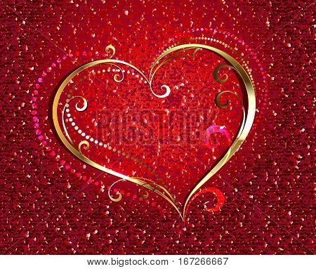 Gold jewelry heart on a red velvety background. Valentine's Day.
