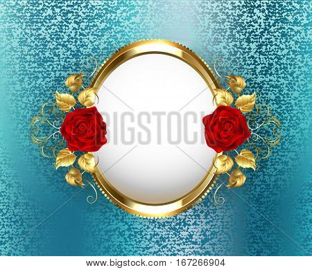 Gold oval frame with red roses on turquoise brocade background. Design with roses.