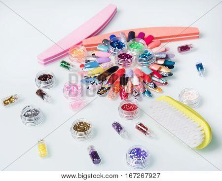 bright nail sequins and many nail file