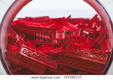 Plastic Brick Toy In Red Colour