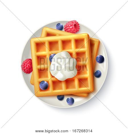 Breakfast menu item sweet belgian waffles with blueberry raspberry and cream realistic top view  plate image vector illustration