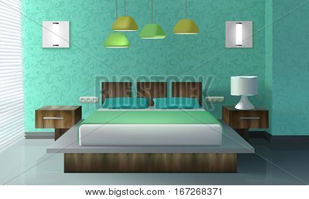 Bedroom interior design with bed bedside table and lamp realistic vector illustration