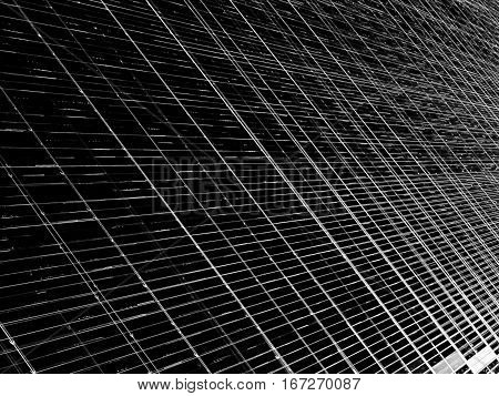 Technology style grid - abstract computer-generated image. Fractal geometry: crossing straight lines and cells. Digital art for backdrops, covers, web design.