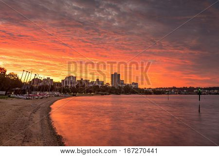 The South Perth shore and skyline during a beautiful sunset on a summer evening. Perth, Western Australia, Australia.