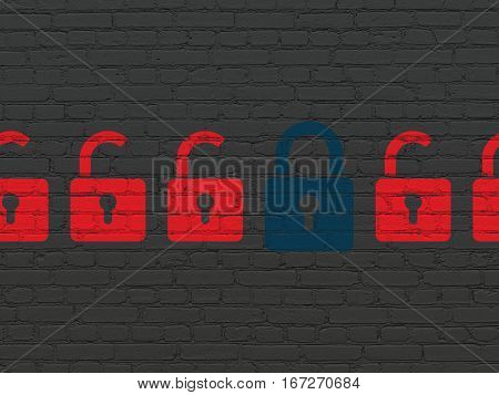 Security concept: row of Painted red opened padlock icons around blue closed padlock icon on Black Brick wall background