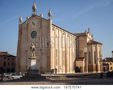 Gothic-Renaissance style of the dome in Montagnana Italy.