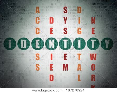 Privacy concept: Painted green word Identity in solving Crossword Puzzle on Digital Data Paper background