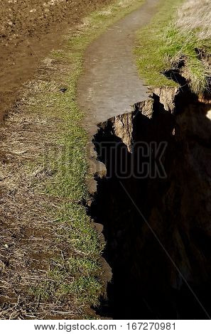 Cliff top path subject to Coastal erosion of cliffs