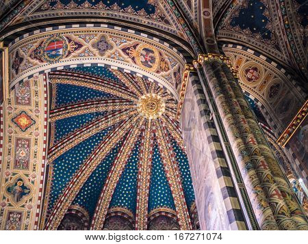 Padua Italy - January 21 2017: Decorated ceiling of the Interior of the Basilica of Saint Anthony of Padua.