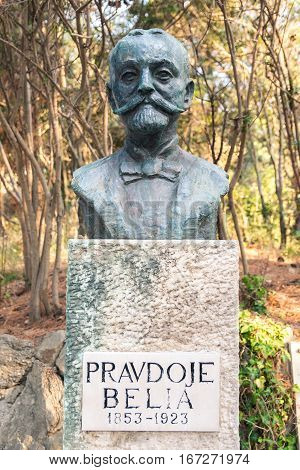 Rab Croatia - August 5 2015: Statue dedicated to Belia Pravdoje Croatian forestry expert.
