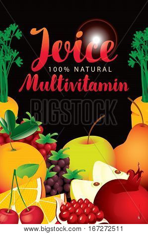 vector label packaging with different fruits and berries and fresh juices multivitamin inscription