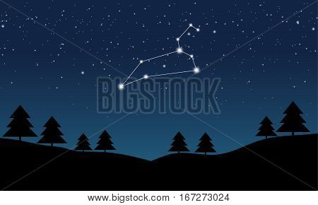 Vector illustration of Leo constellation on the background of starry sky and night landscape