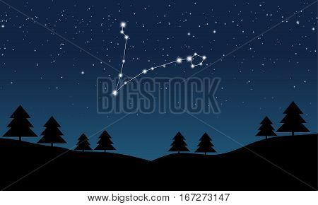 Vector illustration of Pisces constellation on the background of starry sky and night landscape