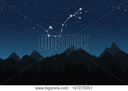 Vector illustration of Scorpio constellation on the background of starry sky and night mountain