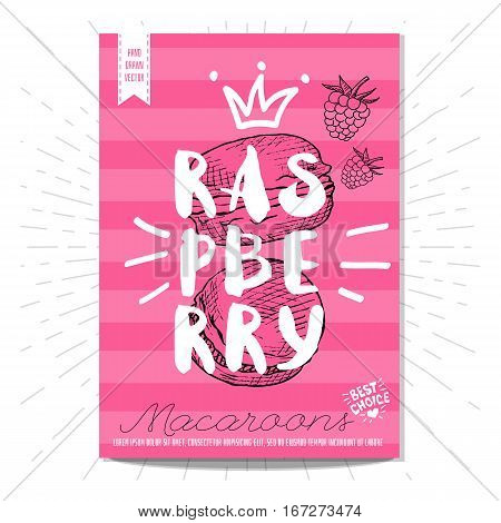 Colorful macaroons labels. Macaroons, yummy, raspberry, heart, best choice. Retro background. Sketch style, posters, hand drawn vector.