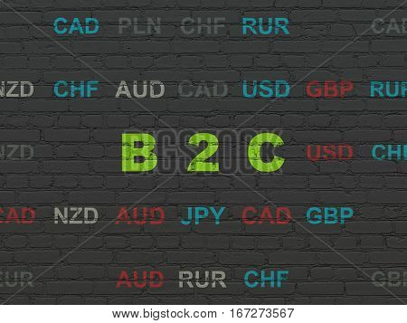 Finance concept: Painted green text B2c on Black Brick wall background with Currency