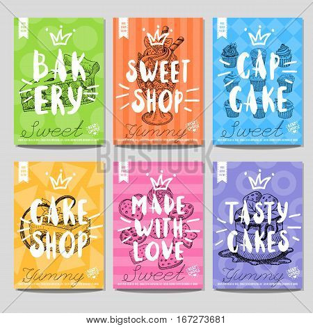 Set colorful sweet labels. Bakery, sweet shop, capcake, cake shop, tasty, yummy, made with love, heart, best choice. Retro background. Sketch style, posters, hand drawn vector.