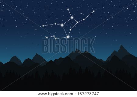 Vector illustration of Virgo constellation on the background of starry sky and night mountain