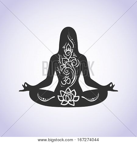 Yoga lotus position meditation mindfulness zen. Vector Linear girl in a circular floral ornament mehendi vintage style India Boho Arabic. For logo yoga studio, postcards, web templates stock vector
