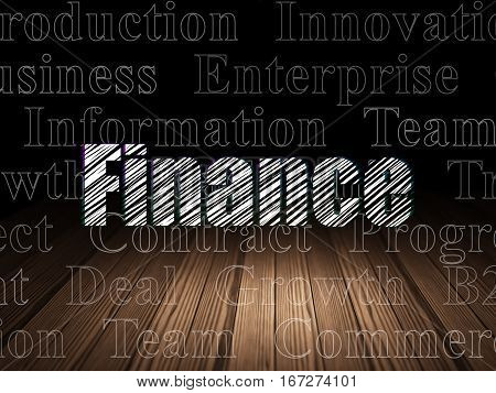 Business concept: Glowing text Finance in grunge dark room with Wooden Floor, black background with  Tag Cloud