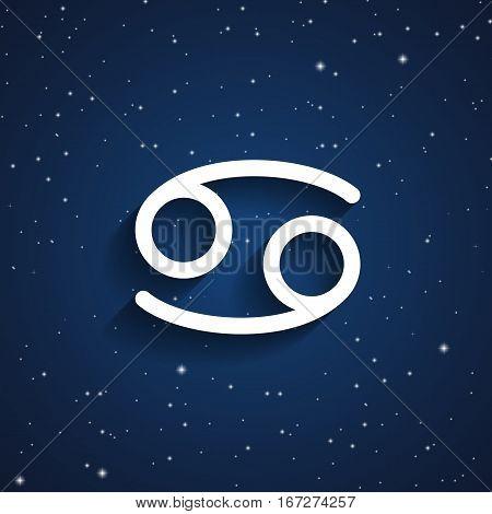 Cancer zodiac symbol white zodiac icon on the background of dark blue starry sky