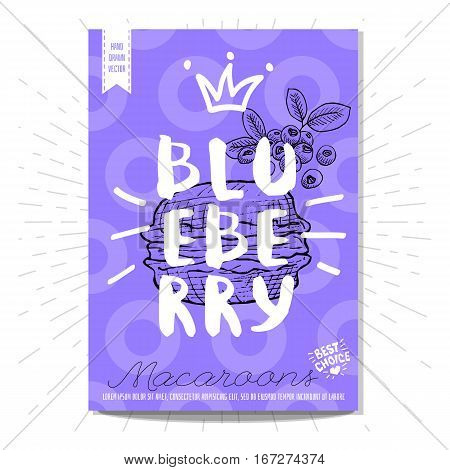 Colorful macaroons label. Macaroons, blueberry, heart, best choice. Retro background. Sketch style, posters, hand drawn vector.
