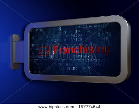 Finance concept: Franchising and Email on advertising billboard background, 3D rendering