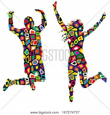 Silhouettes of man and woman in colorful pattern texture