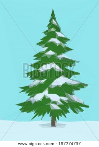 Winter Landscape, Christmas Holiday Green Fir Tree, Snow and Blue Sky, Low Poly. Vector