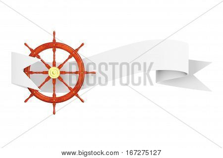 Nautical Ship Steering Wheel with Ribbon Banner on a white background. 3d Rendering.