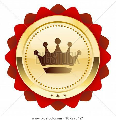 Finest quality seal or icon with crown symbol. Glossy golden seal or button with stars and red color.