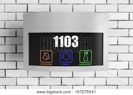 Luxury Hotel Electronic Doorplate Touch Doorbell Switch with Room Number Display in front of Brick Wall. 3d Rendering.