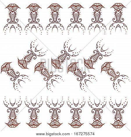 Henna ornament seamless texture borders. Mehndi and mehendi ornament style. Floral one-color borders, seamless pattern. Indian Henna Ethnic Decor