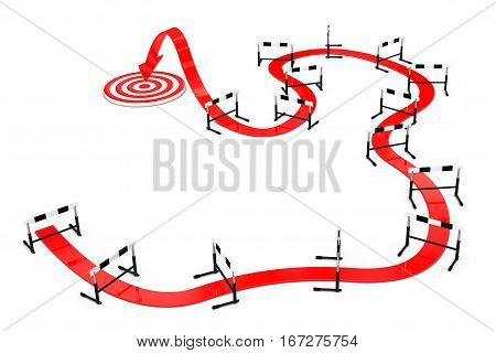 Hard Way to Target Concept. Arrow Way to Success through Athletics Hurdle on a white background. 3d Rendering.