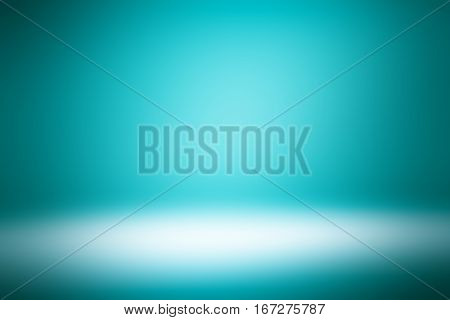 3D illustration background / Abstract dark blue-green empty room studio gradient used for background and display your product