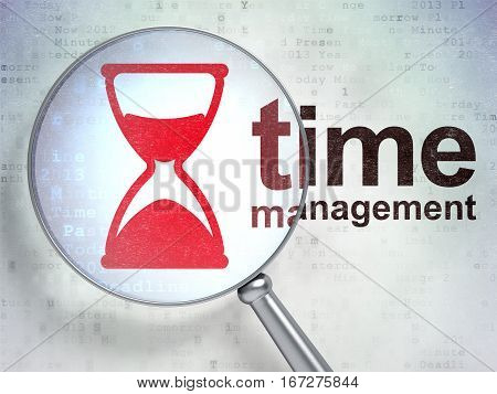 Time concept: magnifying optical glass with Hourglass icon and Time Management word on digital background, 3D rendering