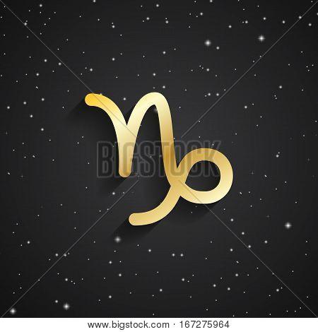 Capricorn zodiac symbol gold zodiac icon on the background of black starry sky