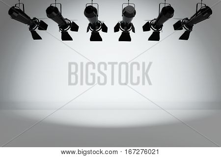 Metal Modern Stage Spotlight Construction in front of white wall. 3d Rendering