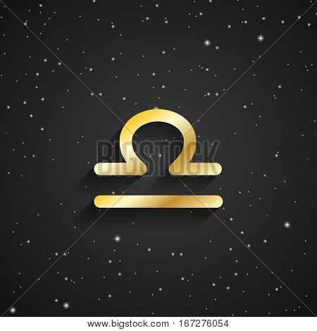 Libra zodiac symbol gold zodiac icon on the background of black starry sky