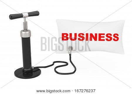 Black Hand Air Pump Inflates Balloon with Business Sign on a white background. 3d Rendering