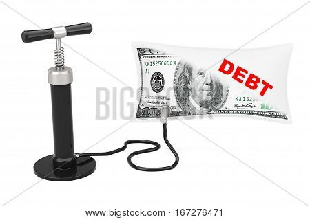 Black Hand Air Pump Inflates US Dollars Balloon with Debt Sign on a white background. 3d Rendering