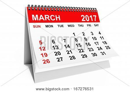 2017 year calendar. March calendar on a white background. 3d rendering