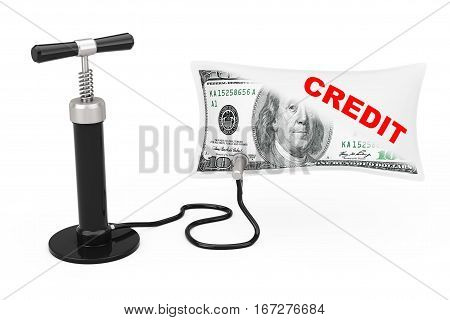 Black Hand Air Pump Inflates US Dollars Balloon with Credit Sign on a white background. 3d Rendering