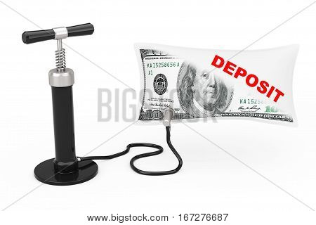 Black Hand Air Pump Inflates US Dollars Balloon with Deposit Sign on a white background. 3d Rendering