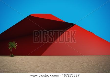 Abstract Desert with Red Dunes on a blue sky Background. 3d Rendering