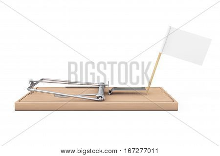 Wooden Mousetrap with Blank Flag for Your Sign on a white background. 3d Rendering.