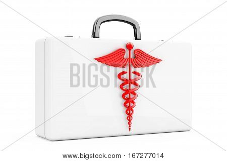 Red Caduceus Symbol in front of First Aid Kit Case on a white background. 3d Rendering
