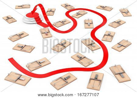 Dangerous Way to Target Concept. Arrow Way to Success through Many Wooden Mousetraps on a white background. 3d Rendering.