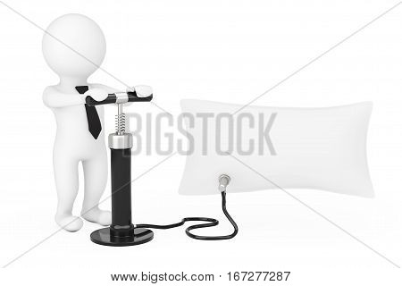 3d Person with Black Hand Air Pump Inflates Promotion Blank Banner Balloon on a white background. 3d Rendering